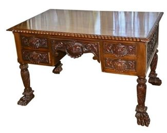 238. Late 19th CenturyEarly 20th Century Carved Mahogany Partners Desk