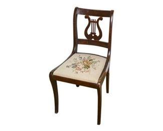 259. Mahogany Lyre Back Side Chair