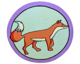 260. Circular Metal Street Post Sign of a Fox