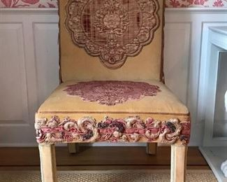PAIR of Great Library Chairs in Velvet and Applique