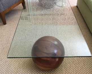 Glass and Ball Cocktail Table