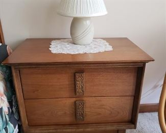 MCM bedroom set -- includes 2 nightstands, bed, and two dressers.
