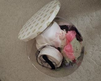 Vintage hats, hatbox (think Jackie O)