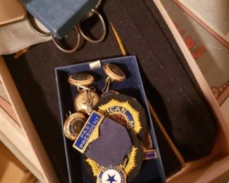 American Legion hat, medals and pins