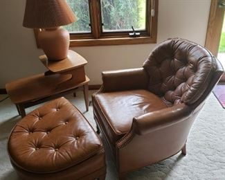 MCM leather arm chair with ottoman, MCM end table, lamp