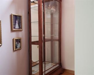 Wood framed glass display cabinet