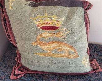 Needlepoint pillow sewed by a nurse traveling home from France (WWI/II)