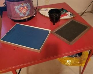 Vintage card table, Farberware crockpot, antique child's lap chalkboard