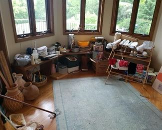 Dishes, rug, pottery