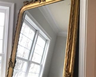 French Gilt Bevelled Mirror with Lovely Detail