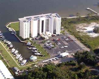 Aerial View of Back Bay and Concrete Marina Area, Gazebo and Parking Area