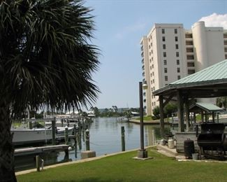 View from Gazebo and fish cleaning area toward mouth of the marina