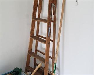 Wood ladder, garage/yard tools