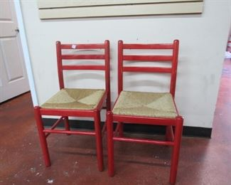 Painted red rush seat side chairs