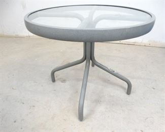 Aluminum Frame Table w Glass Top