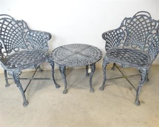 Aluminum Basket Weave Chairs Table