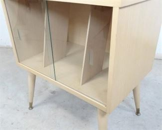 Glass Front 1960s Magazine Rack StandCabinet Table