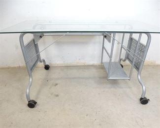 Industrial Metal Glass Top Computer Desk