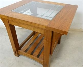 Sturdy Wooden Side End Table with Glass Center