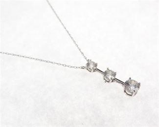 14K White Gold 3tier Pendant Necklace