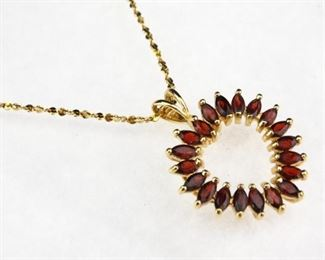 925 3ct Garnet Open Heart Shape Necklace