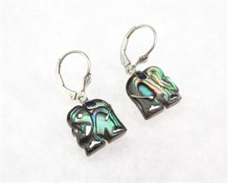 925 Silver and Abalone Aisan Elephant Earings