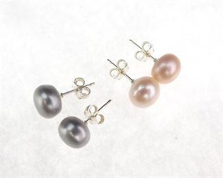 925 Silver and genuine pearl earrings