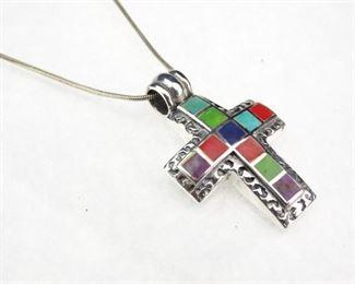 925 Sreling Silver multigemstone Cross Pendant