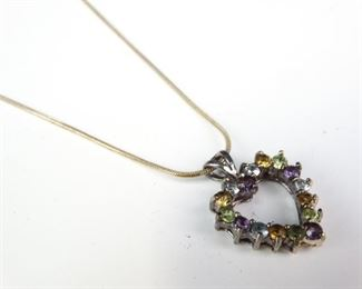 Sterling Silver MultiColor Stone Pendant Necklace