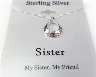 Sterling Silver Sister Pendant Necklace