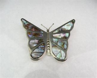 Silver MotherofPearl Butterfly Brooch