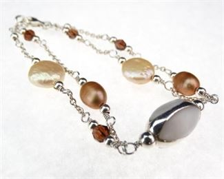 925 Sterling Silver 2strand Pearl and Mother of Pearl bracelet