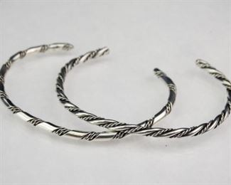 925 Sterling Silver Twisted Rope Cuff Bracelets