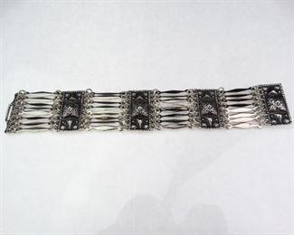 Mexican Silver Rectangle Link Bracelet