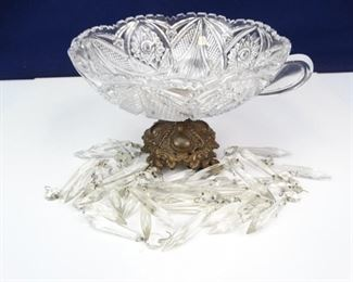 Hobstar Cut Glass Bowl with Brass Footed Base