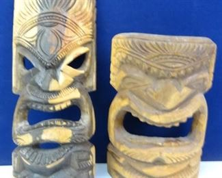 Hand Carved Wooden Masks from the Island of Tonga