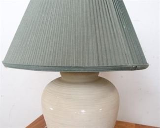 Rough Hewn, Rustic Pottery Lamp with Green Shade