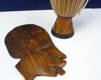 Small African Bongo Drum & Wooden Wall Hanging (2)
