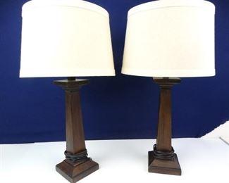 Wood Table Lamp Set