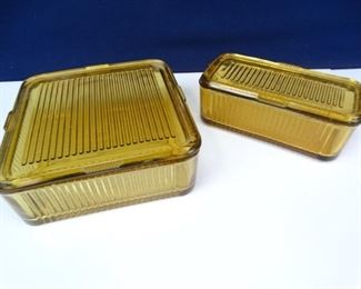 Vintage Yellow Glass Storage Dishes with Lids