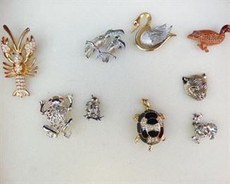 Assortment of Vintage Animal Bird Pins