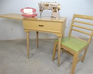 1960s Vintage Singer Sewing Machine, Table, Chair