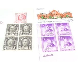 Vintage US Postage Stamps Plate Block