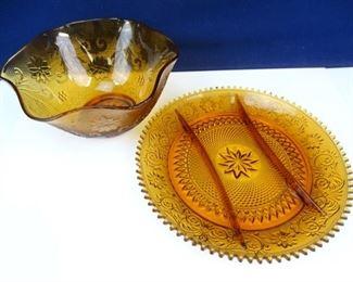 Amber Glass Relish Dish and Sandwich Bowl
