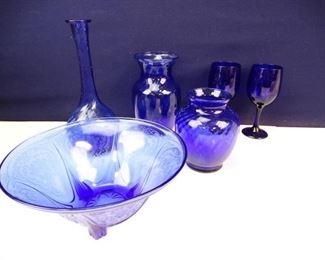 Vintage Cobalt Blue Glassware
