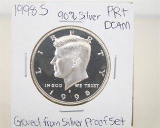 90% Silver 1998-S High Grade KennedyHalf DollarProof