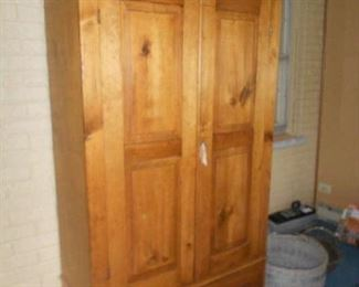 ANTIQUE PINE PANTRY CUPBOARD WITH BOTTOM DRAWER
