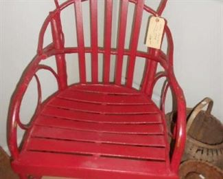 OLD RED PAINTED WOOD AND TWIG CHAIR