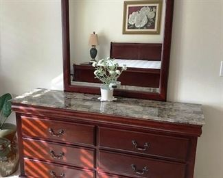 Gorgeous marble topped dresser and mirror