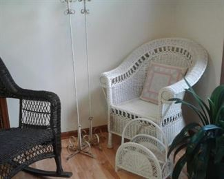 Mid century wrought iron lamp stands and wicker rocker, side chair and magazine rack